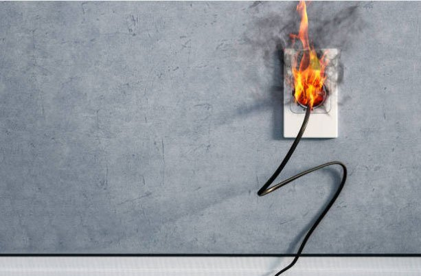 outlet fire stock photo
